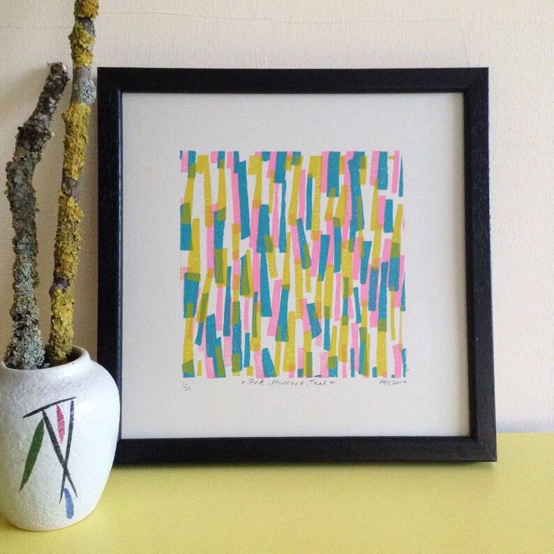 Pink, Mustard, Teal - Limited Edition Screen Print - Art Print - Wall Art -  Midcentury Pattern - Vintage Style Print