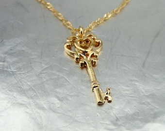 2eecb625ec3a37 Gold key necklace, Little gold key, key necklace, Gold Kay Pendant, 14k Gold  Filled, Delicate Pendant, Bridesmaid Gift, For Her, Bridal Gift