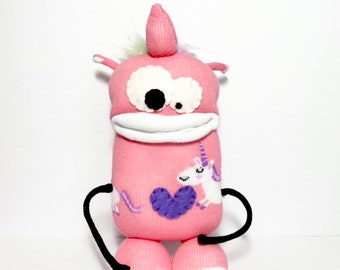 DARLA - Sock Monster - Plush Toy - Handmade Monster - Unicorn - Stuffed Toy