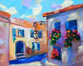 French Art Wall Art Home Decor Modern Impressionist Original Oil Fine Art Painting City Scape Landscape by Rebecca Croft