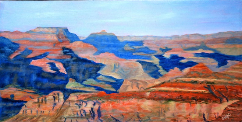 Rebecca Croft Original Oil Painting View From the Canyon Rim image 0