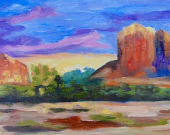 PRINT - Many Sizes - of Sedona Arizona Painting from Original Impressionist Oil Painting by Rebecca Croft