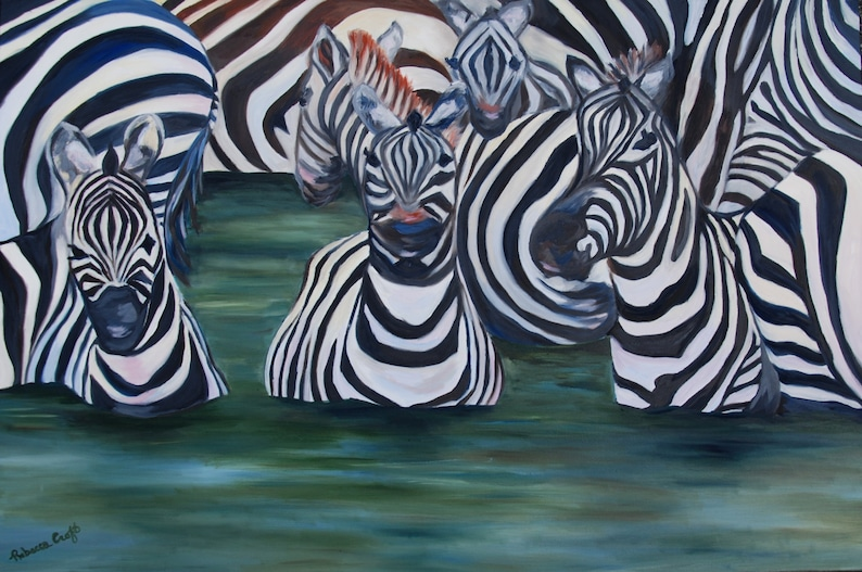 LARGE  24 x 36 Zebra Animal Painting Wall Art Home Office image 0