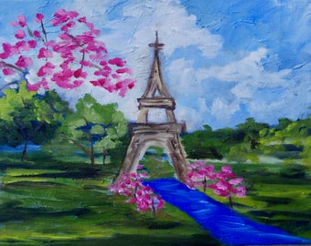 Paris French Art Wall Art Home & Office Decor Modern Impressionist Eiffel Tower Landscape Oil Painting by Rebecca Croft