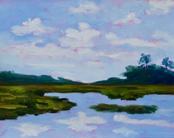 Marsh Kiawah Island Beach House Home Decor Modern Impressionist Low Country Landscape Oil Painting By Rebecca Croft Studios