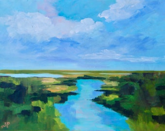 PRINT - Many Sizes - of Marsh Painting from Original Impressionist Oil Painting by Rebecca Croft