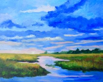 Giclee of Original Marsh Landscape Coastal Decor Modern Impressionist Oil Painting by Rebecca Croft Studios