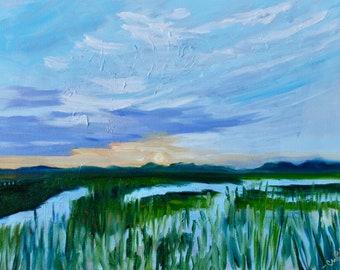 Sunset on Shem Creek Charleston SC Modern Impressionist Original Oil Landscape Painting by Rebecca Croft Studios