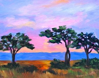 Giclee - Canvas Print - Many Sizes - Kenya Landscape Canvas Print of Original Modern Impressionist Oil Painting by Rebecca Croft Studios