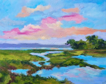 Giclee - Many Sizes Marsh Kiawah Island Gallery Wrapped Canvas Print of Original Modern Impressionist Oil Painting by Rebecca Croft Studios
