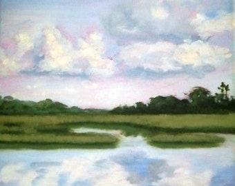 PRINT - Many Sizes - Bald Head Island North Carolina Print of Original Modern Impressionist Oil Painting by Rebecca Croft Studios