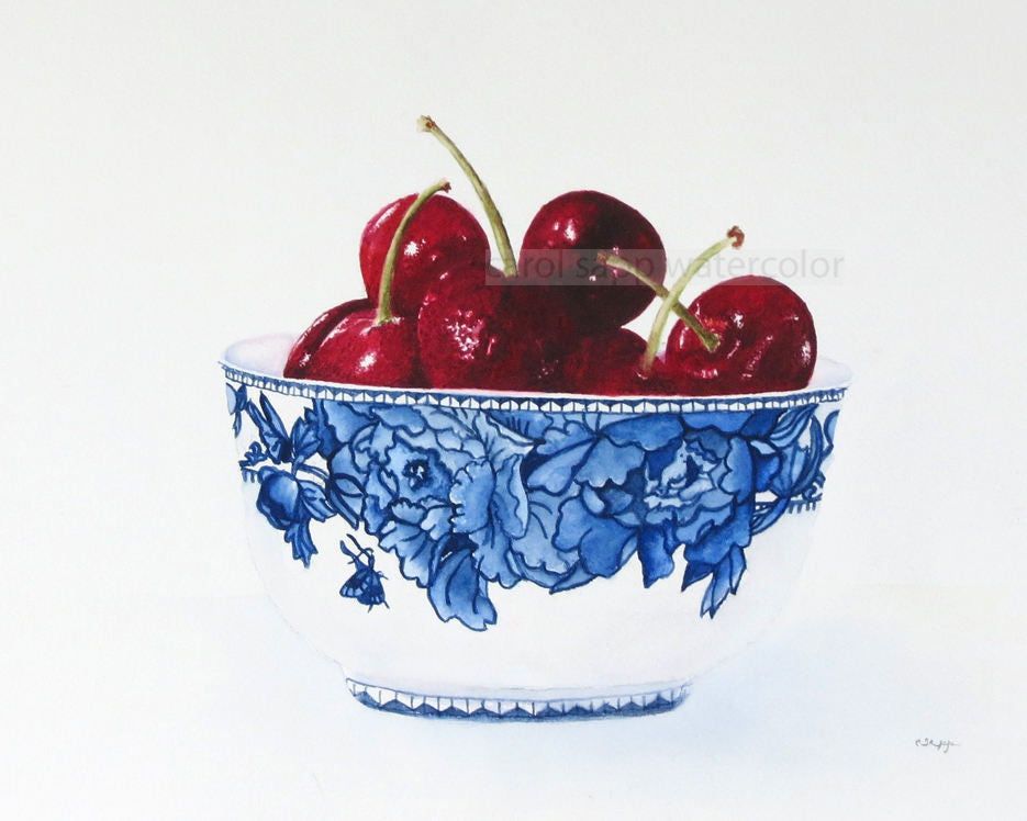 Obstschale Kirschen Aquarell-Kirschen Malerei-Kirschen | Etsy