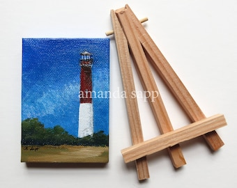 lighthouse original acrylic painting-tiny canvas art-with easel-amanda sapp-lighthouse painting-lighthouse art-small painting-shore decor