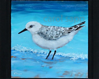 sandpiper painting-shore bird painting-original oil painting-original art-sandpiper art-carol sapp-shore bird art-beach decore-shore decor