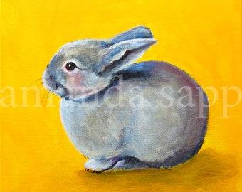 bunny art-bunny painting-archival print of original acrylic painting-nursery art-bunny portrait-rabbit painting-rabbit art-bunny gift