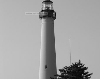Cape May lighthouse black and white photograph