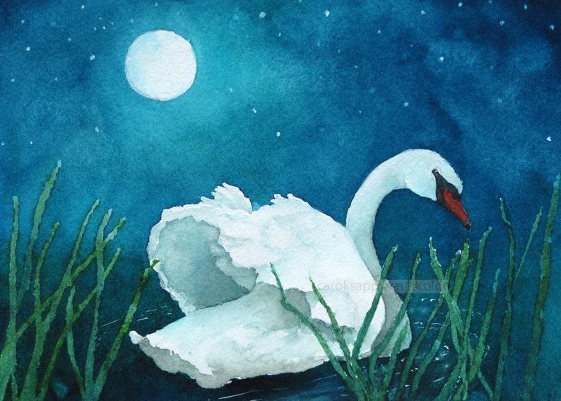 Swans By Moonlight >> Moonlight Swan Watercolor Print Etsy