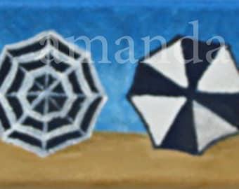 beach umbrella painting-beach art-original acrylic painting-amanda sapp-small format art-umbrella art