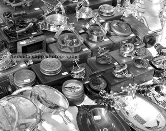 Portobello compasses black and white photograph by Amanda Sapp 8 x 10