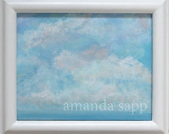 summer sky painting-seascape art-original acrylic painting-shore decor-framed canvas art-small canvas painting-amanda sapp-seascape painting