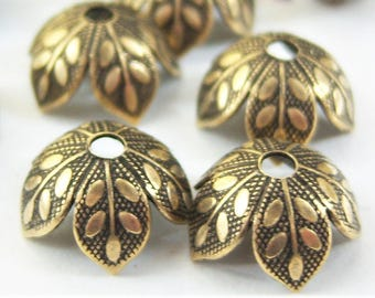 6 -Antiqued brass 8mm leaf petal bead caps - ZK215