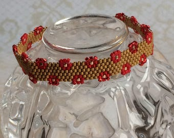 Handcrafted, Peyote Stitch, Cuff Bracelet in Gold and Red Beads