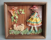 Girl Walking Poodle Dog Wall Hanging . 3d Flower Garden Diorama . Clay Sculpture in Shadowbox . Made In Poland . Little Girl Room Decor