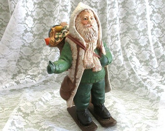 Rustic Christmas Large Santa Figurine Vintage Santa Claus Father Christmas Country Ceramic Santa Statue Hand Painted Santa Decoration