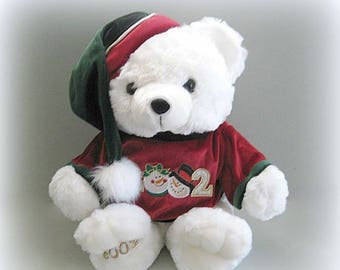 Teddy Bear Toy Bear Christmas Bear Doll Stuffed Bear Plushy Bear White Bear Plush Bear White Teddy Bear Plushie Bear Santa Bear Holiday Bear