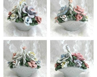 Porcelain Rose Basket Ceramic Flower Floral White Small Miniature