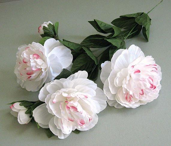 White peony flower 2 artificial silk flowers white flower stem etsy image 0 mightylinksfo