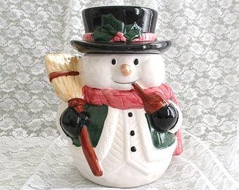 Christmas Snowman Cookie Jar Christmas Cookie Jar Vintage Cookie Jar Ceramic Cookie Jar Christmas Kitchen Decor  Christmas Decor Holiday