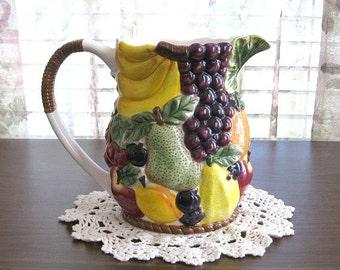 Ceramic Fruit Pitcher Pottery Pitcher Kitchen Decor Wedding Gift Ceramic Pitcher Art Pitcher Vase Water Pitcher Milk Juice Hand Painted