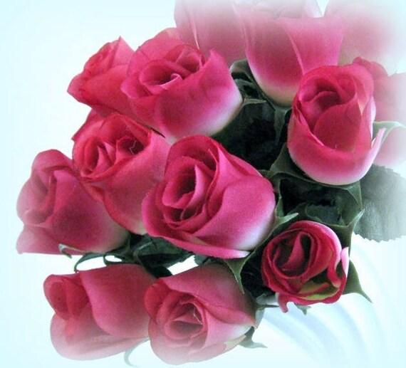 Pink rose bud silk rose flower stem artificial rose wedding etsy image 0 mightylinksfo