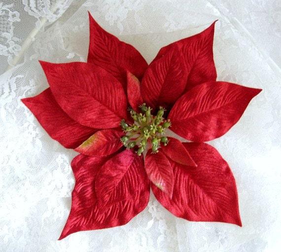 Christmas Poinsettia Red Velvet Silk Flowers X Large 95 Etsy
