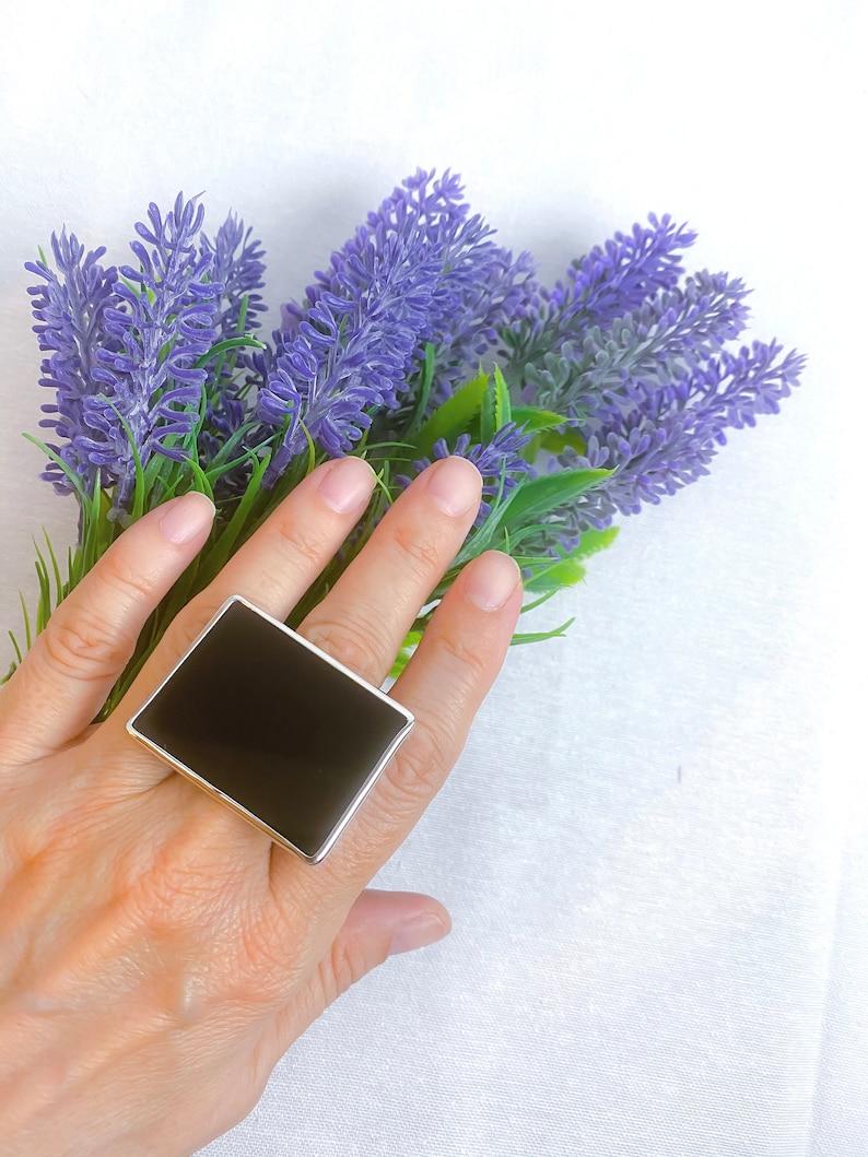Gift for Wife Black Onyx Rectangle Ring Unisex Ring 925 Sterling Silver Ring Gift for Women Men