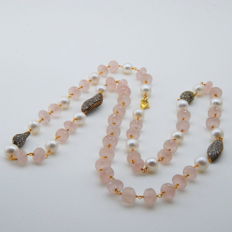 Pale pink Semi Precious pearl necklace Pink quartz necklace pink boho necklace Elegant Necklace Pearl Baby Shower jewelry