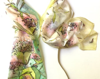 Silk scarf hand painted - pink yellow floral silk scarf -  hand hemmed silk scarf - gift idea for woman - TO ORDER