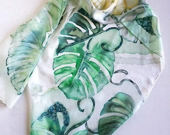 Emerald green silk scarf, palm leaf greenery, bridal gift idea, woman gift, mother gift, wedding gift, green scarf for gift idea