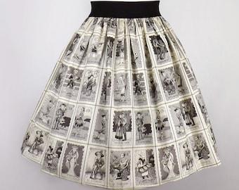 Black & White Loteria A-line Elastic Skirt