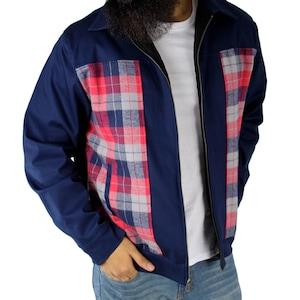 50s Men's Jackets | Greaser Jackets, Leather, Bomber, Gabardine Men's Plaid Panel Jacket in Blue S-4XL $89.95 AT vintagedancer.com