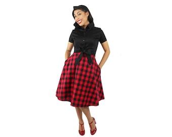 Red and Black Plaid Circle Skirt