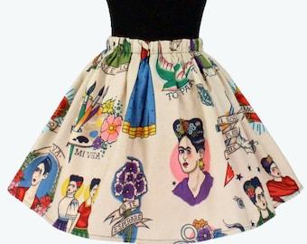 Girl's Beige Colorful Frida Skirt