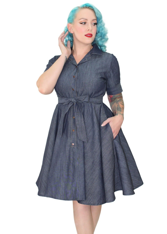 Pin Up Girl Costumes | Pin Up Costumes Denim Circle Dress XS-3XL $62.95 AT vintagedancer.com
