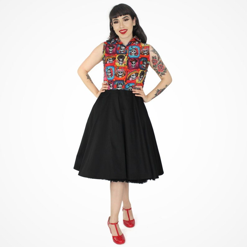 Vintage Inspired Day of the Dead Catrinas Circle Dress XS-3XL