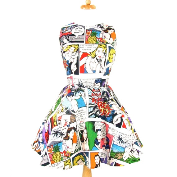 Pinup Comic Strip Skater Dress