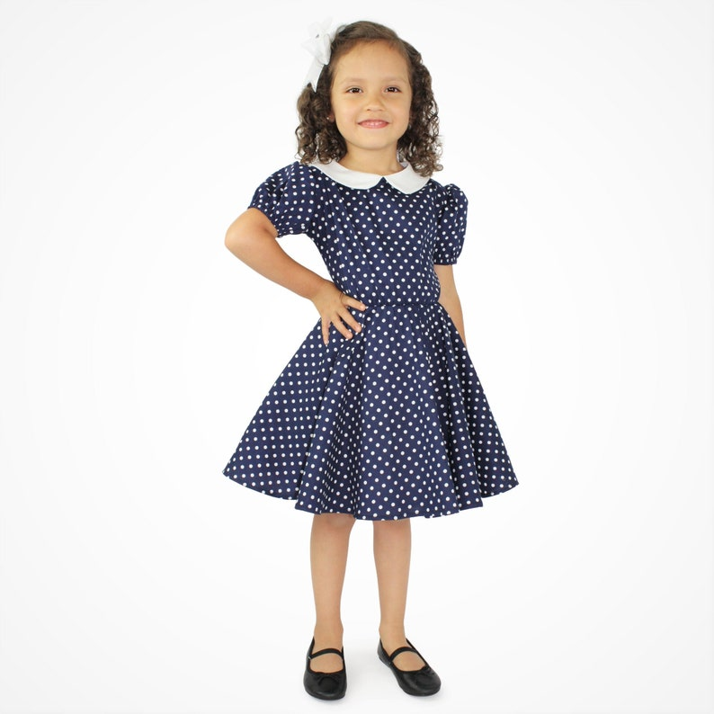 Kids 1950s Clothing & Costumes: Girls, Boys, Toddlers I Love Lucy Inspired Dress - Girls Blue and White Polka Dot Dress $34.95 AT vintagedancer.com