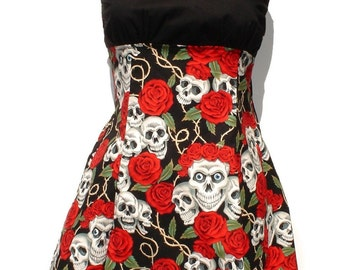 Skull and Roses Day of the Dead Dress