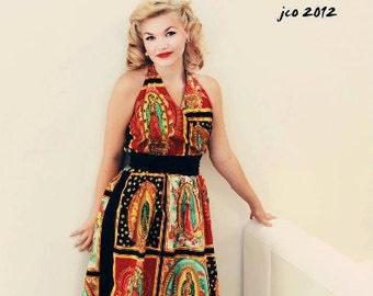 Guadalupe Virgin Mary  Halter Dress / Rockabilly Guadalupe Dress Mexican virgin Dress