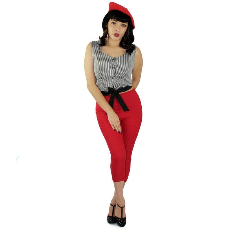 1950s Women's Outfit Inspiration A Stripe Love Affair - Striped Knot Top $41.95 AT vintagedancer.com